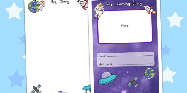 EYFS My Learning Story Front Cover Space Themed - australia, eyfs