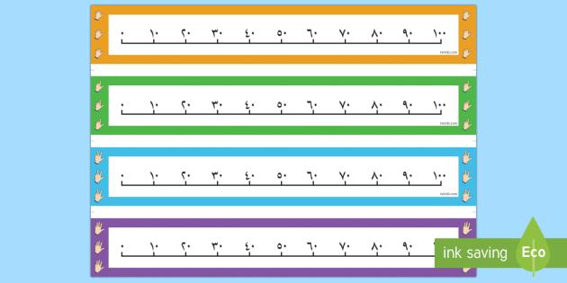 خط الأعداد للعد بالعشرات أعداد العد