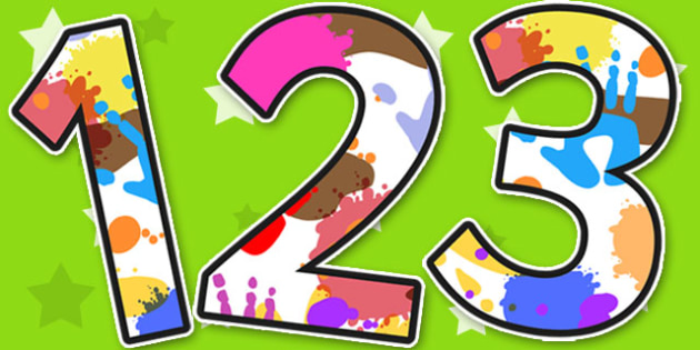 Messy Play Themed A4 Display Numbers - display, numbers, messy