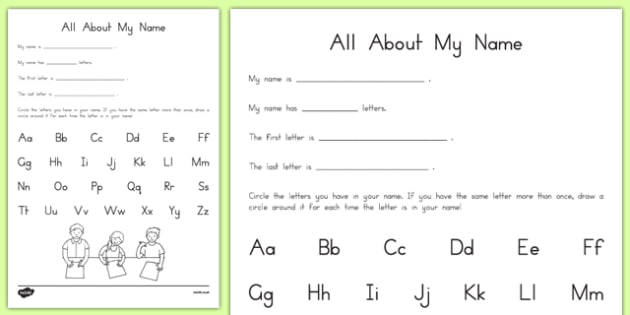 All About My Name Activity Sheet, worksheet