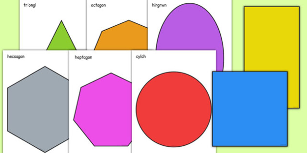 2D Shape A4 Cut Outs Welsh - cymreag, welsh, 2d shape, a4, cut outs, 2d, shape, maths, numeracy