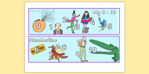 Roald Dahl Number Lines 0 10 - roald dahl, numberlines, roald dahl numberline, numberline 0-10, roald dahl themed numberline 0-10, roald dahl themed