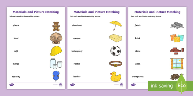 materials word and picture matching worksheet materials word - Matching Worksheet