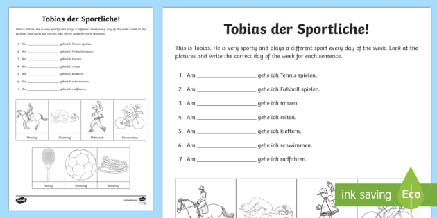 Days Of The Week Worksheet Activity Sheet German Days Of The