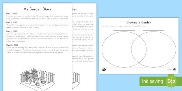 Gardening Texts Compare And Contrast Worksheet Activity Sheet