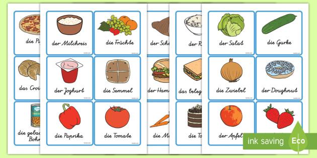 Nahrungsmittel Wortschatz: Wort- und Bildkarten - Nahrungsmittel
