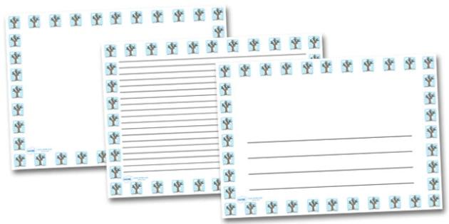 Winter Tree Landscape Page Borders- Landscape Page Borders - Page border, border, writing template, writing aid, writing frame, a4 border, template, templates, landscape