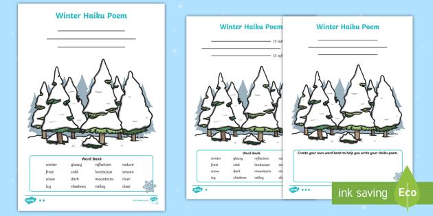 New Winter Haiku Poem Differentiated Worksheets Poem