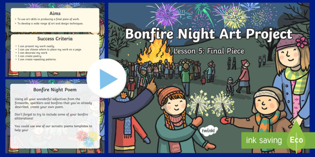 KS1 Bonfire Night Art Lesson 5: Poem and Final Piece PowerPoint