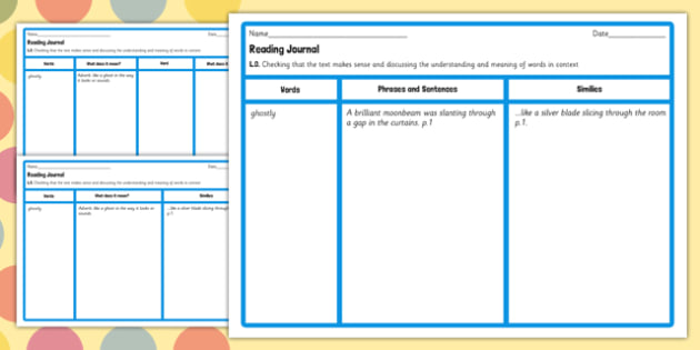 Reading Journal Writing Template to Support Teaching on The BFG