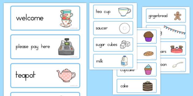 Tea Shop Role Play Word Cards - australia, tea shop, role-play, word cards