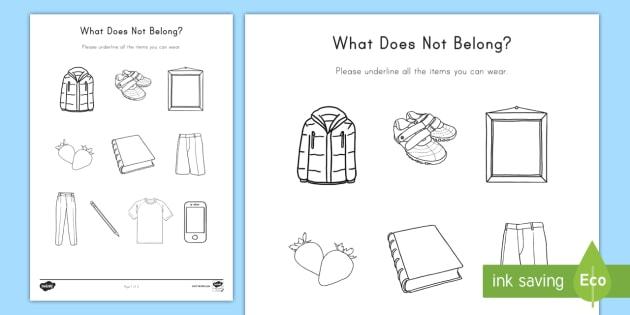 What Does Not Belong Worksheet / Activity Sheet - Categorize