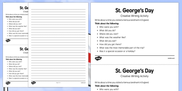 Elderly Care St George's Day Creative Writing Activity - Elderly, Reminiscence, Care Homes, St. George's Day