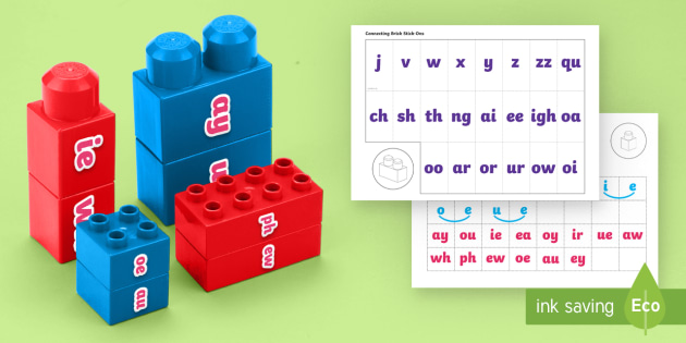 Phases 2 to 5 Phonics Matching Connecting Bricks Resource Pack - Phonics, letters and sounds, building sounds, blending, segmenting, connecting activity, phase 2, ph