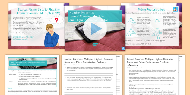 Maths Mastery HCF LCM And Prime Factorisation Lesson Pack GCSE