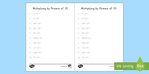 Multiplying by Powers of 10 Worksheet / Activity Sheet