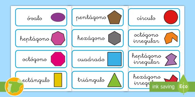 Figuras geométricas planas: Tarjetas de vocabulario