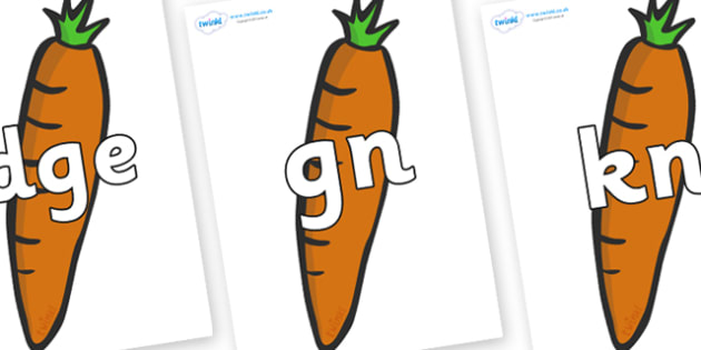 Silent Letters on Carrots - Silent Letters, silent letter, letter blend, consonant, consonants, digraph, trigraph, A-Z letters, literacy, alphabet, letters, alternative sounds