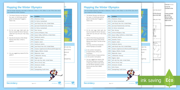 Mapping the winter olympics activity pack winter olympics mapping the winter olympics activity pack winter olympics host cities world map gumiabroncs Gallery