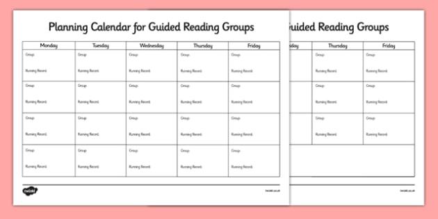 editable guided reading planning calendar
