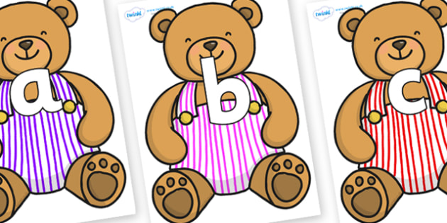 Phoneme Set on Dungaree Teddy - Phoneme set, phonemes, phoneme, Letters and Sounds, DfES, display, Phase 1, Phase 2, Phase 3, Phase 5, Foundation, Literacy