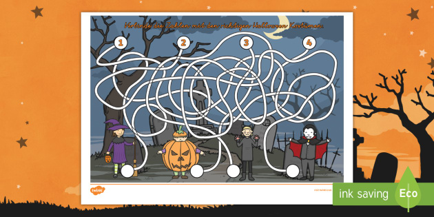 Halloween thematisiertes Arbeitsblatt Erstes Schreiben: Linien