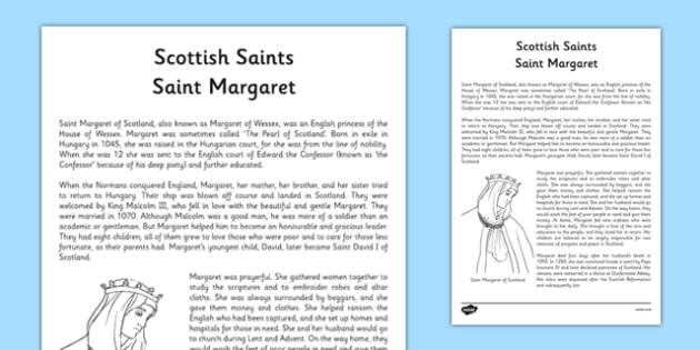 Saint Margaret Information Sheet - CfE, Religious and Moral Education, Second Level, Christianity, Saints, Scotland