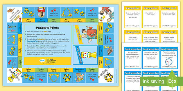 KS2 BBC Children in Need Pudsey's Fundraising Maths Board Game Pack