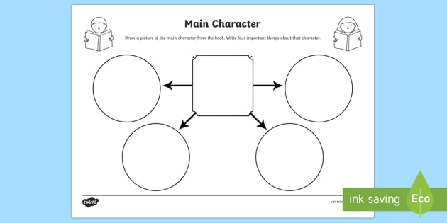 Main Character Comprehension Worksheet - books, reading, story