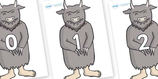 Numbers 0-50 on Wild Thing (3) to Support Teaching on Where the Wild Things Are - 0-50, foundation stage numeracy, Number recognition, Number flashcards, counting, number frieze, Display numbers, number posters