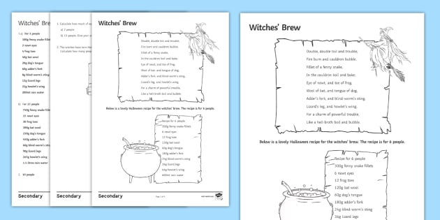 Witches\' Brew Worksheet / Activity Sheet - halloween