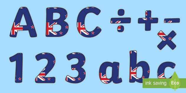 New Zealand Flag Display Lettering (Lowercase) - New Sealand, Flag, Lowercase, Wellington, display lettering, lowercase, alphabet, A-Z, A4, display, Alphabet frieze, Display letters, Letter posters, A-Z letters, Alphabet flashcards