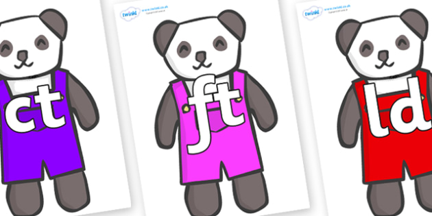 Final Letter Blends on Panda Bears - Final Letters, final letter, letter blend, letter blends, consonant, consonants, digraph, trigraph, literacy, alphabet, letters, foundation stage literacy