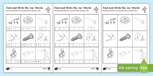 Ew Words Differentiated Worksheet Primary Resources