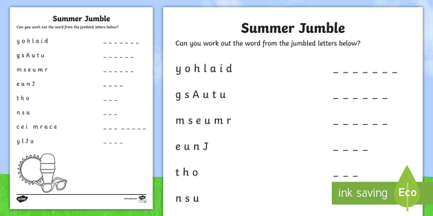 photo about Jumble Puzzles Printable named Summer season Jumble Worksheet / Worksheet - NI, Summer time, warm, solar