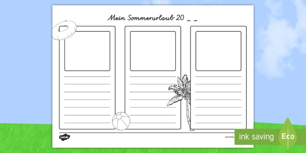 Im sommer 20__ Habe ich... - german, holidays, writing frames, write