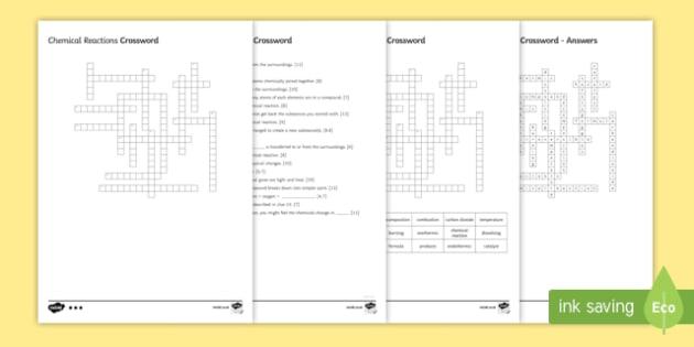 KS3 Chemical Reactions Crossword