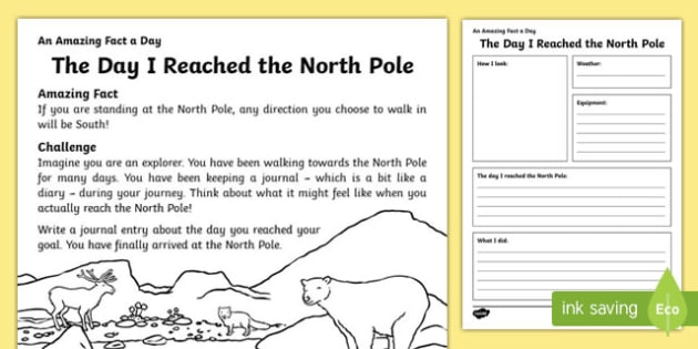 The Day I Reached the North Pole Worksheet / Activity Sheet, worksheet