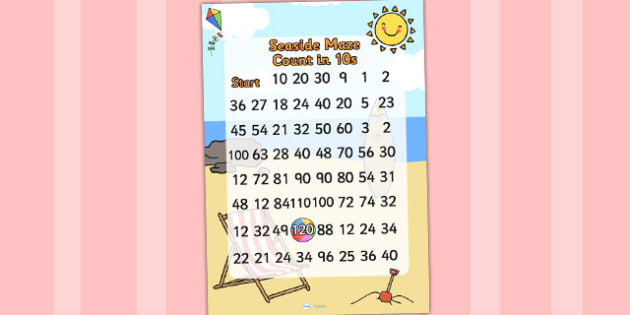 Seaside Themed Counting in Tens Maze - sea side, count, maths