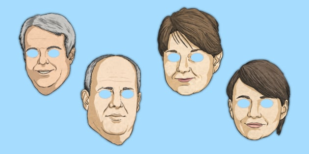 Welsh Assembly National Election 2016 Party Leader Role Play Masks - welsh, cymraeg, Welsh Assembly National Election 2016, Party Leader, Role Play Masks