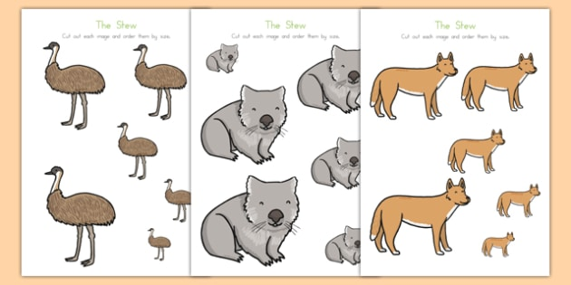 The Stew Size Ordering - australia, the stew, wombat stew, marcia k vaughan, size ordering