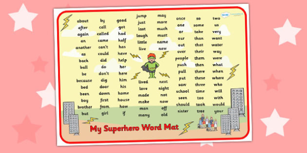 Superhero Themed Key Stage 1 Word Mat - superheroes, KS1 mat