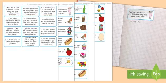 Addition Word Problem Maths Challenge Sticky Avery Labels - Maths, Problems, Word Problems, KS1, Key Stage One, Scenario, Challenges, Stickers