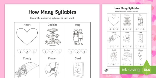How Many Syllables Valentines Day Worksheet Activity Sheets