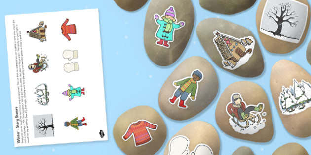 Winter Story Stone Image Cut Outs - winter, story stone, image, cut outs