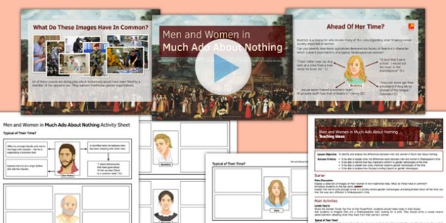 Men and Women in Much Ado About Nothing Lesson Pack - men, women, much ado about nothing, lesson