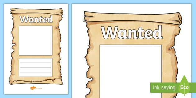 Wanted Poster Templates  Cowboy Wanted Poster Template