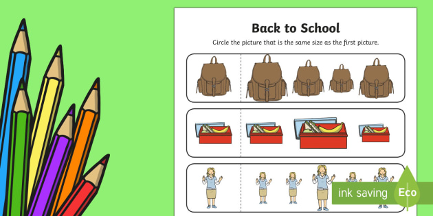 Back to School Themed Size Matching Activity Sheet - Back to School Australia, back to school worksheet, back to school activity sheet, transition worksh