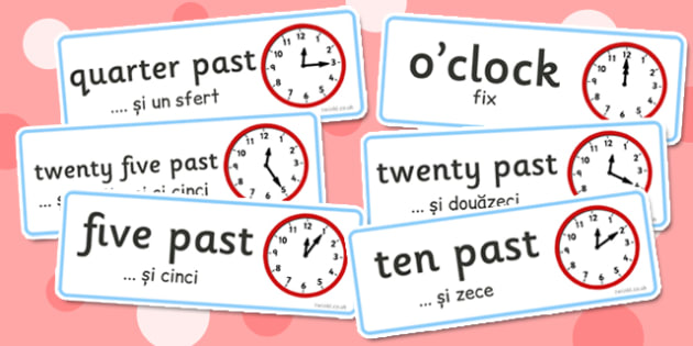 Time Word Cards Romanian Translation - romanian, time, word cards