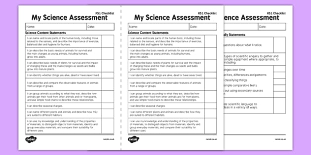 KS1 Science Exemplification - I Can Statements Checklist